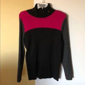 Ralph Lauren black gray pink turtleneck sweater 2X